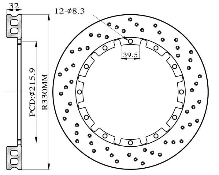 Tarcze hamulcowe nawiercane do zestawu Big Brake 330mm 2015 - GRUBYGARAGE - Sklep Tuningowy